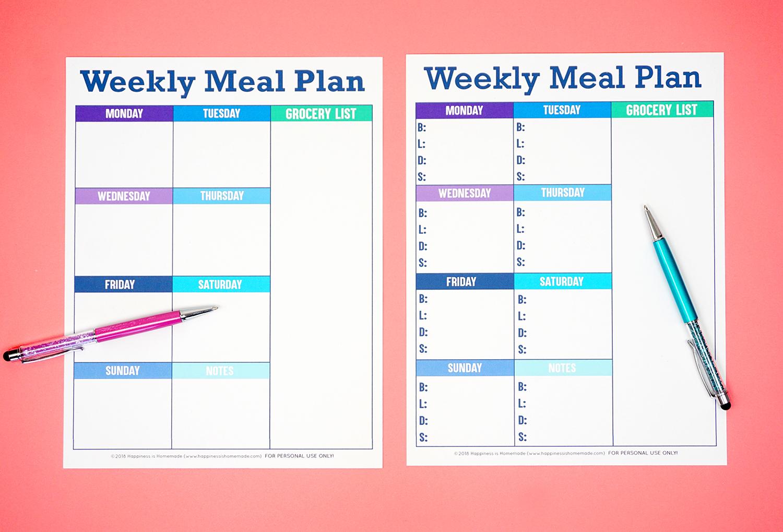 Printable Weekly Meal Planner Template