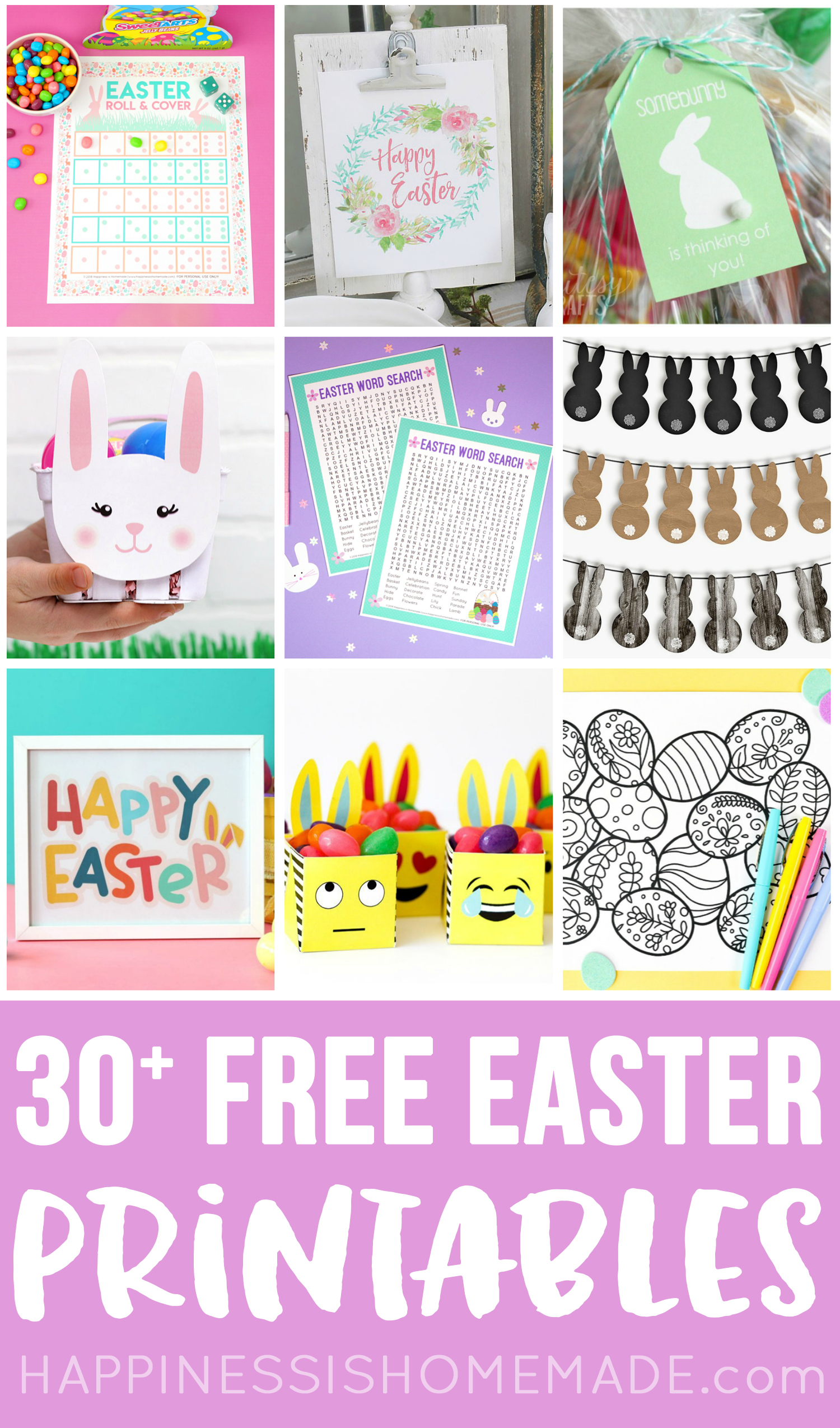 30+ Totally Free Easter Printables - we've got them all! Easter home decor, kids printables, Easter games, coloring pages, gift boxes, treat tags, and more!