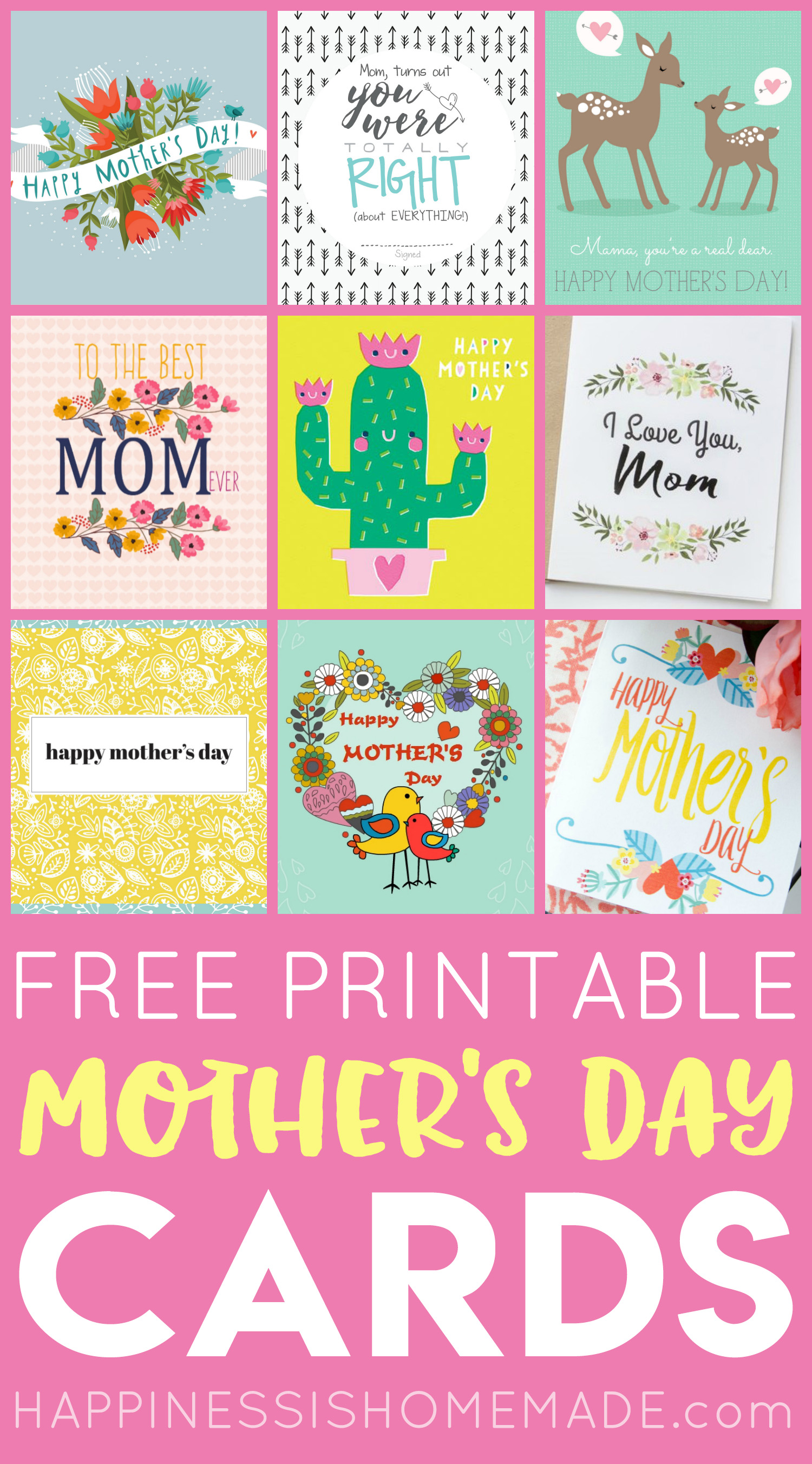 Free Printable Mother S Day Cards Happiness Is Homemade