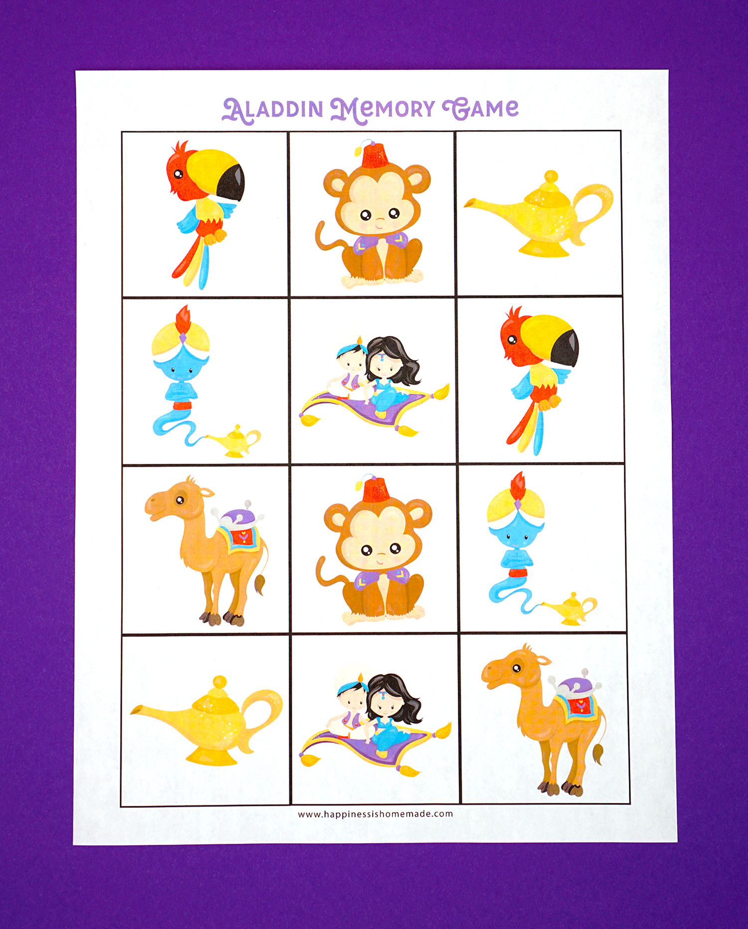Aladdin Preschool Printables