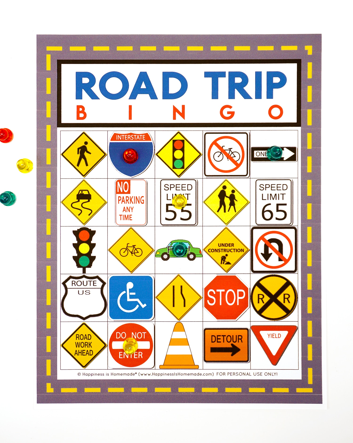 Road Trip Bingo printable game card on white background
