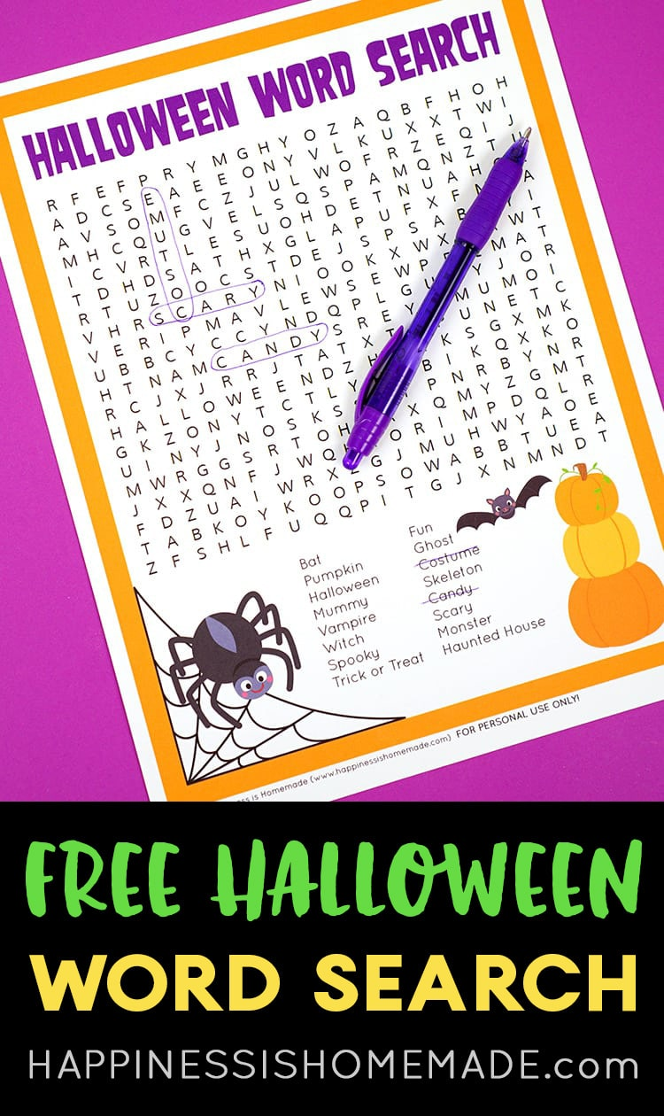 Free Halloween Word Search Printable