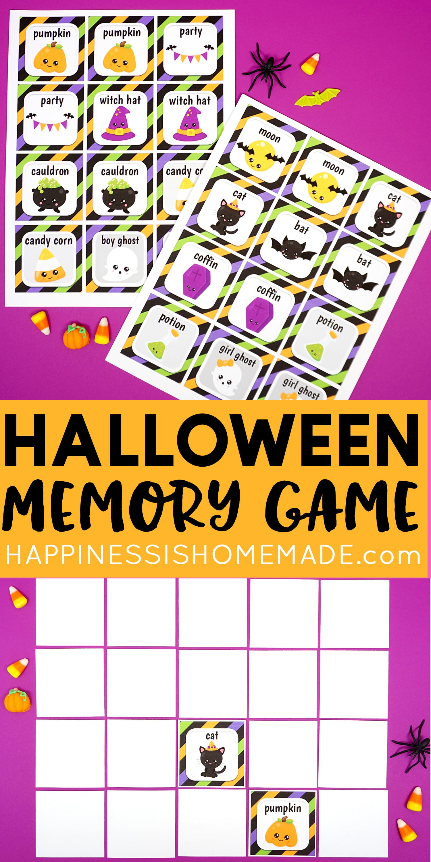 Free Printable Halloween Memory Match Game Cards