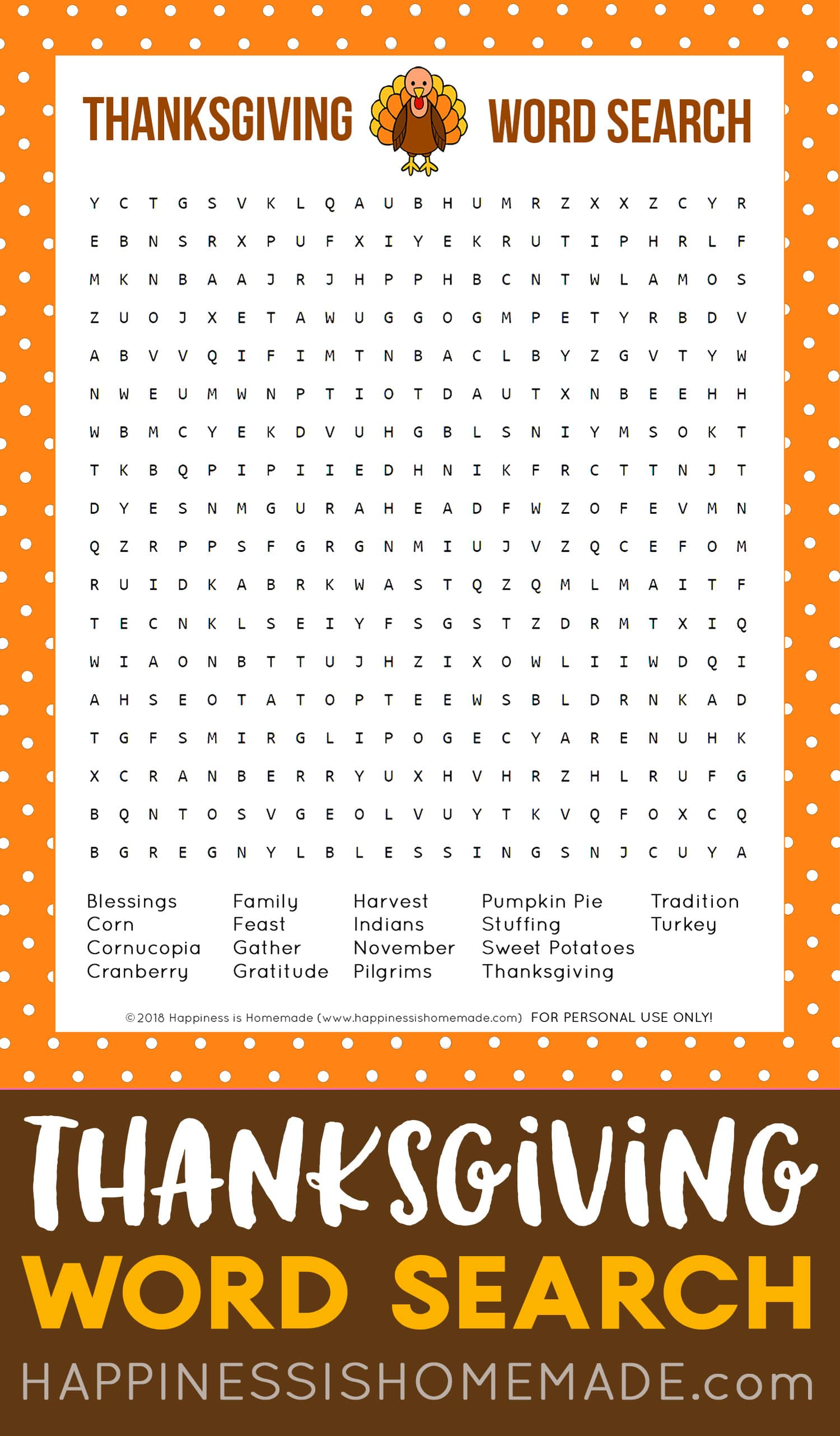 Thanksgiving Word Search Printable