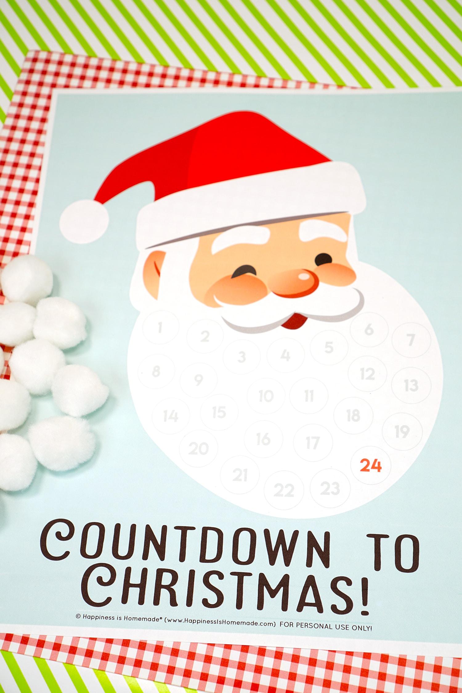 Santa Christmas Countdown Printable