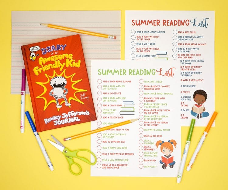 Diary of an Awesome Friendly Kid book and printable summer reading list on a yellow background with pens, pencils, and scissors