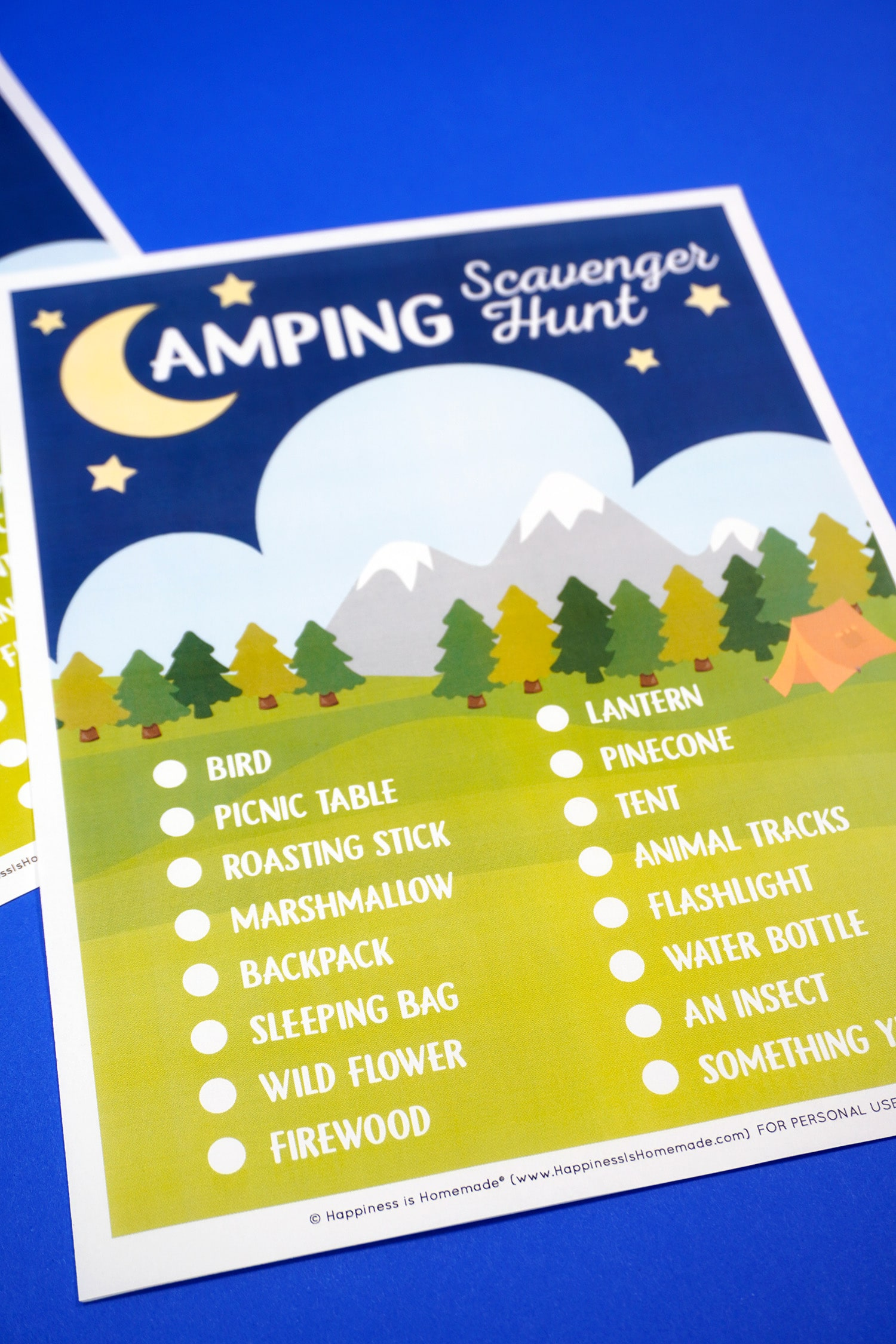 Printable Camping Scavenger Hunt game on blue background