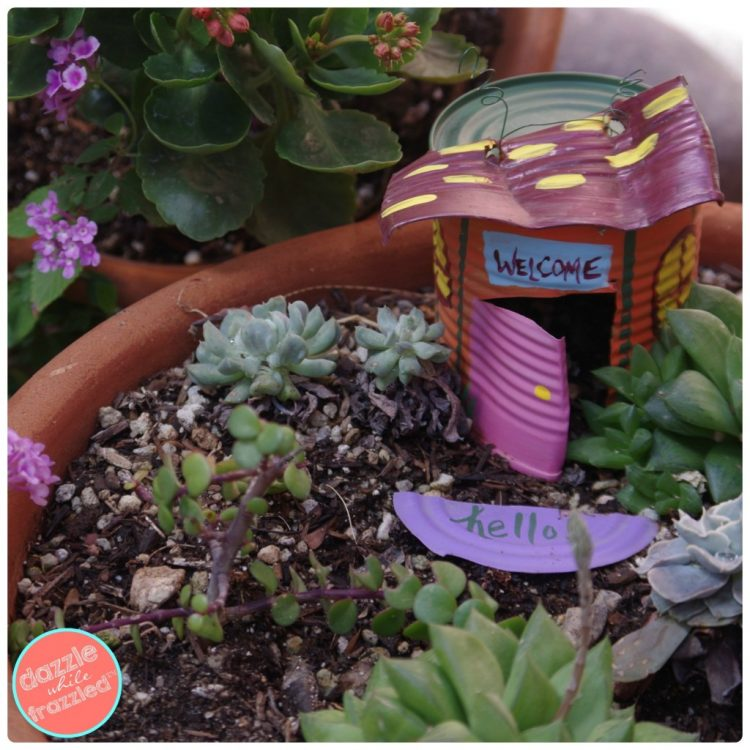 Tin can fairy garden house in terra cotta pot with greenery