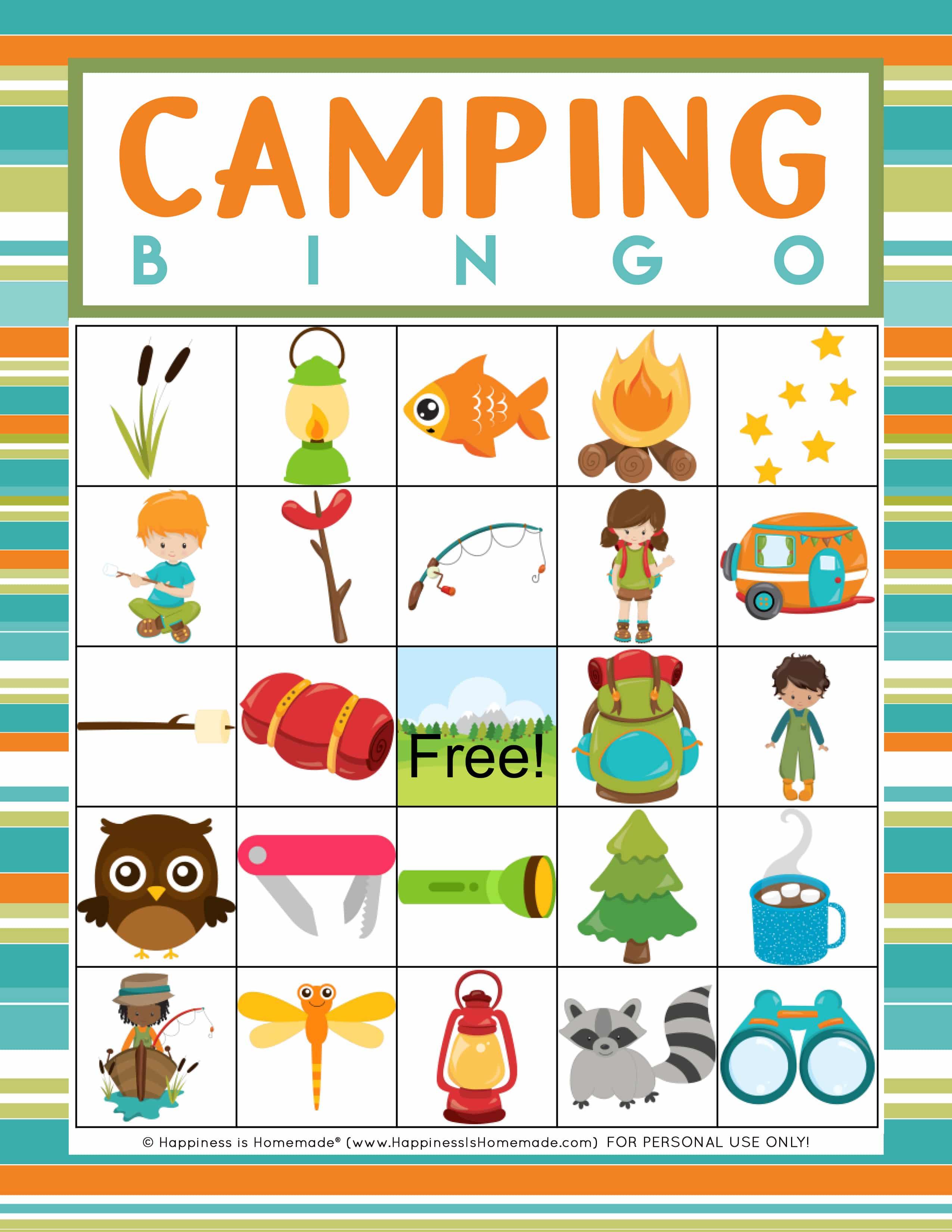 Camping Bingo Game Card sample printable page graphic