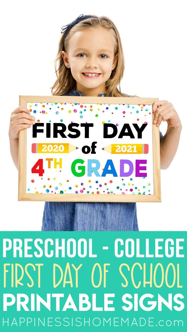 "Cute girl holding printable ""First Day of 4th Grade 2020-21"" sign"