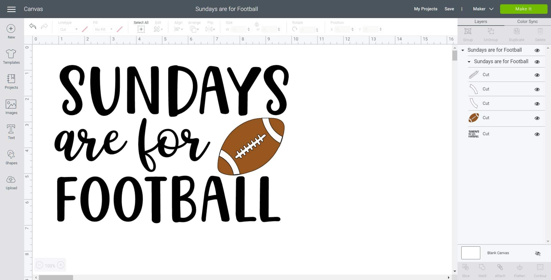 """Screenshot of """"Sundays are for Football"""" design in Cricut Design Space software"""