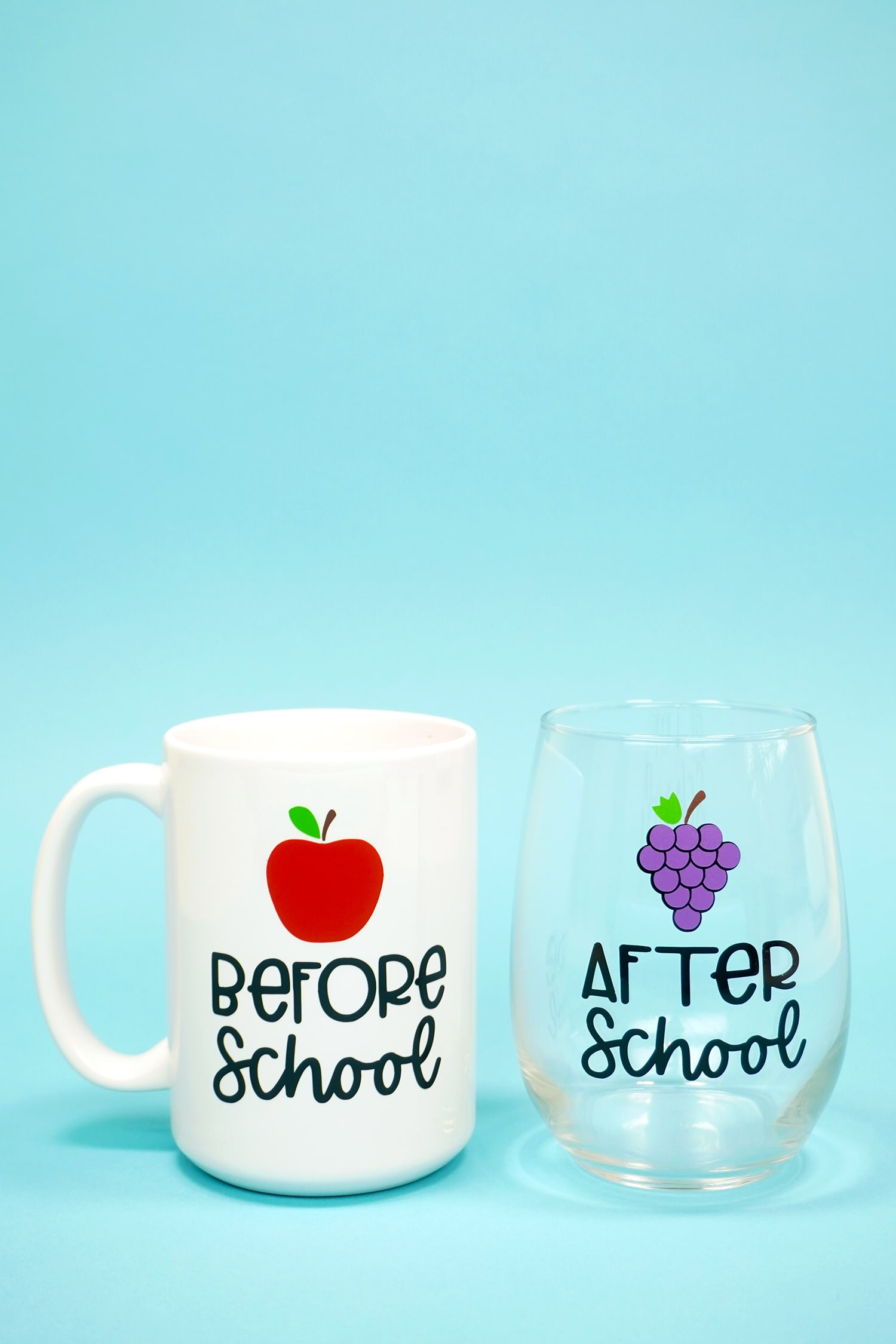 """Before School"" white coffee mug and ""After School"" stemless wine glass on light blue background"