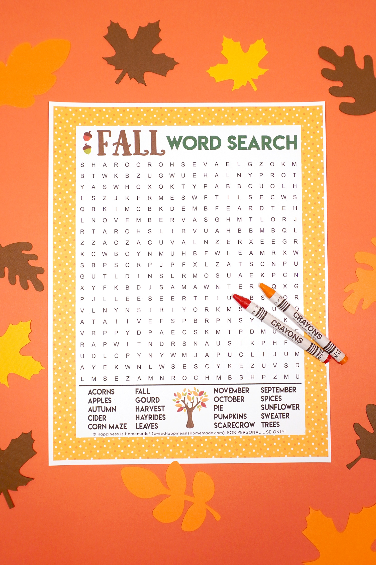 Fall Word Search Printable