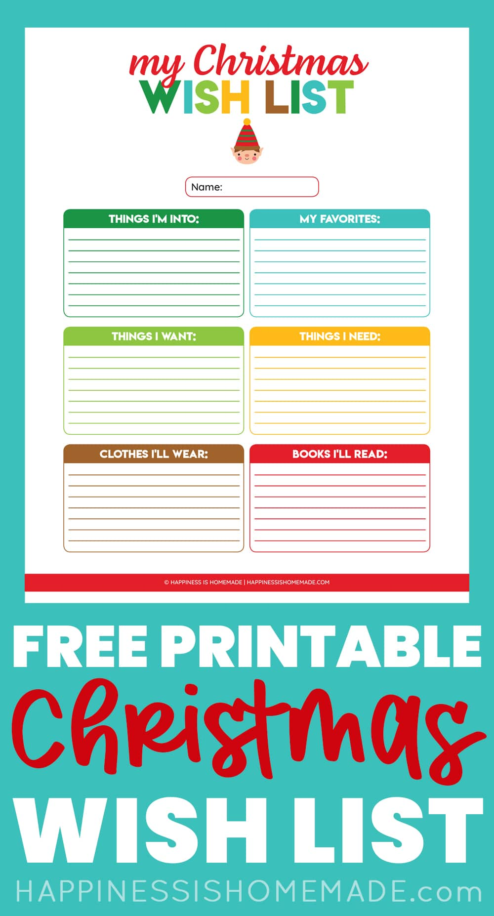 colorful Christmas list make a wish page Christmas wish list make a Christmas list grown up Christmas list instant download Printable
