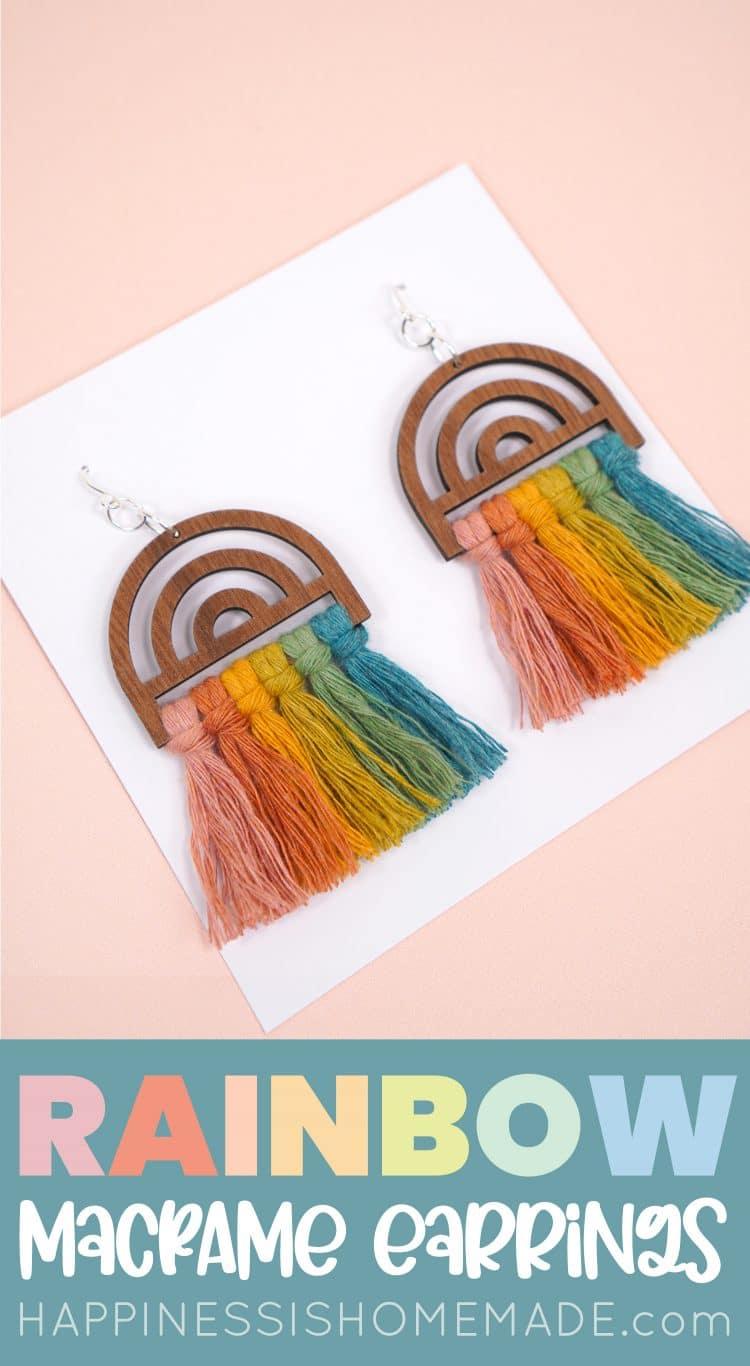 Glowforge Craft Rainbow Macrame Earrings pin
