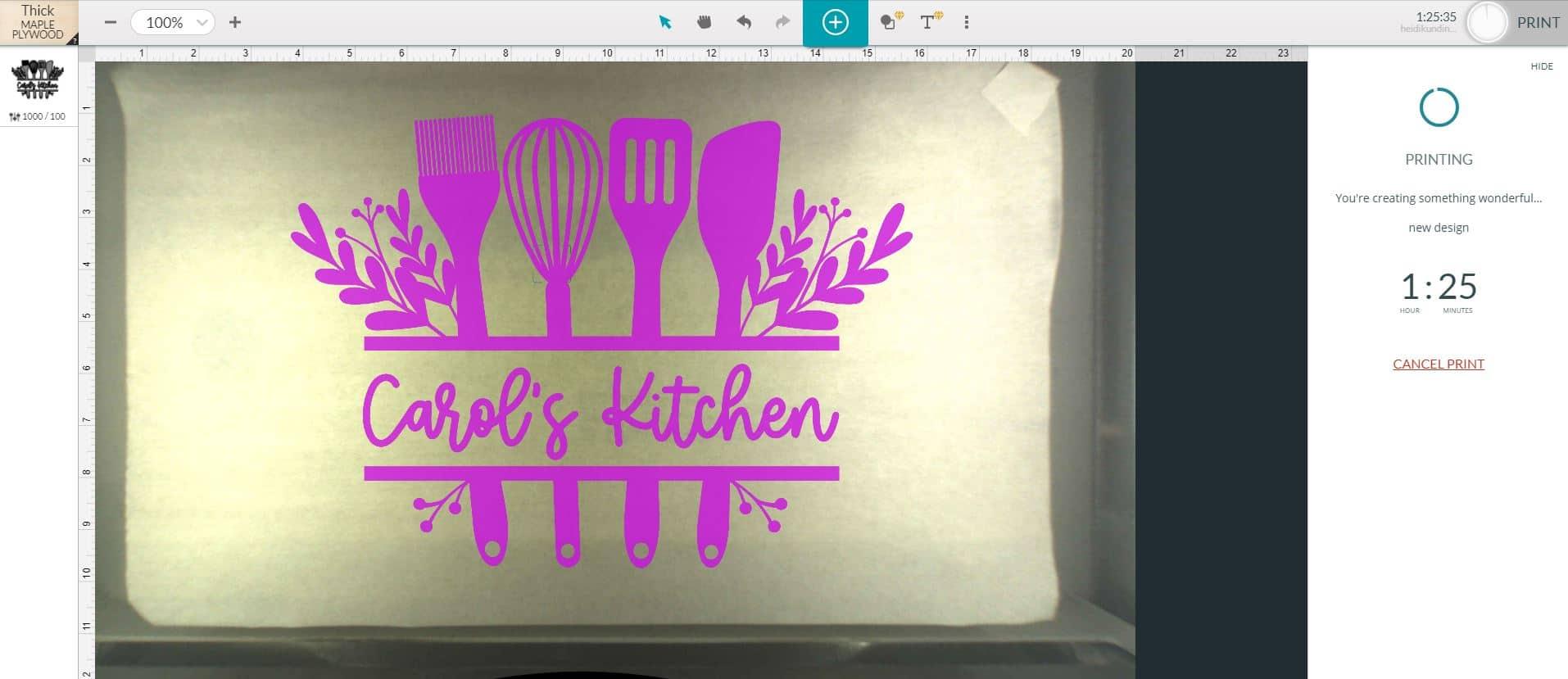 Screenshot of Glowforge App Software and Cutting Board Design