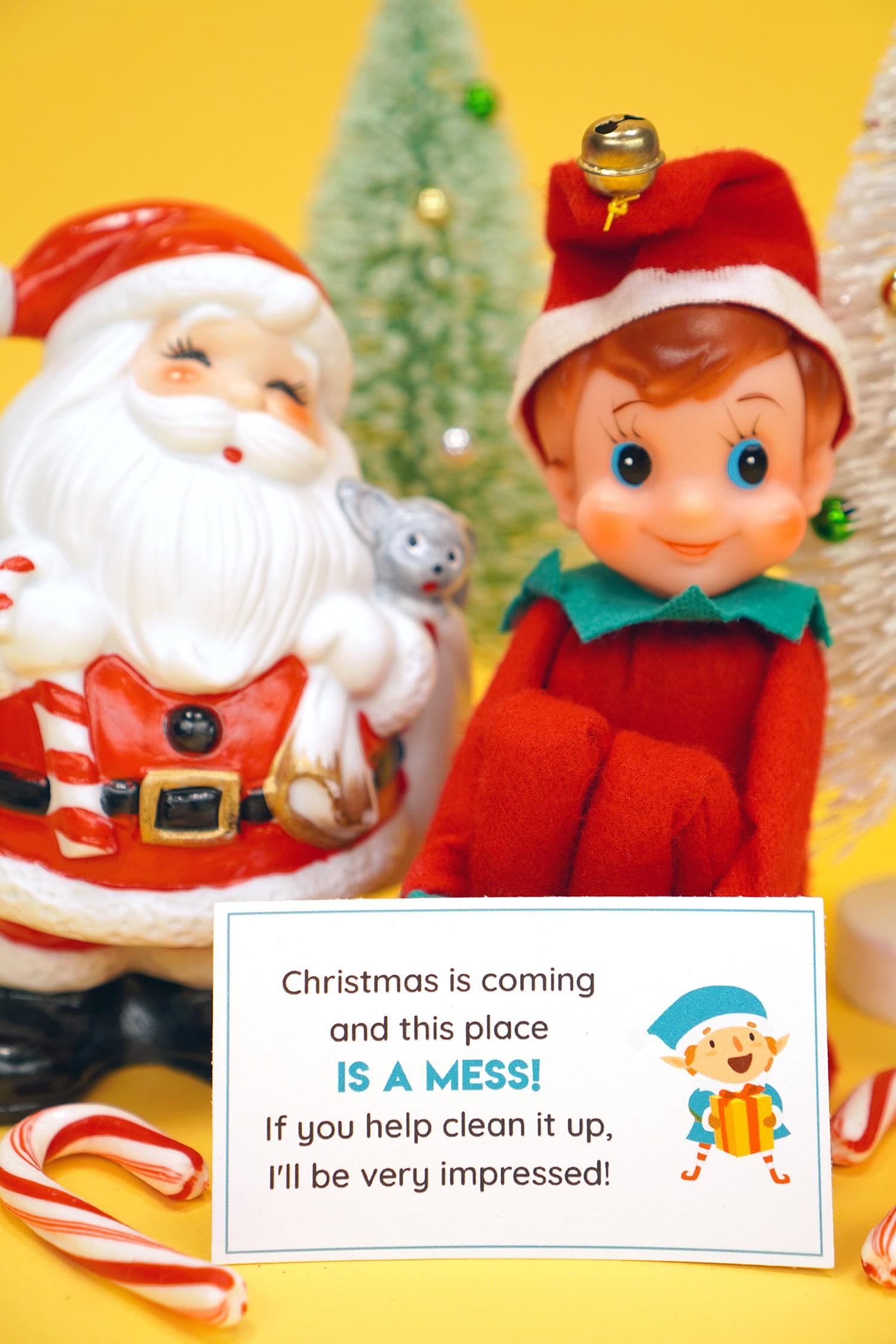 Vintage Elf doll with Elf on the Shelf printable note card, vintage ceramic Santa figurine, candy canes, and vintage sisal trees