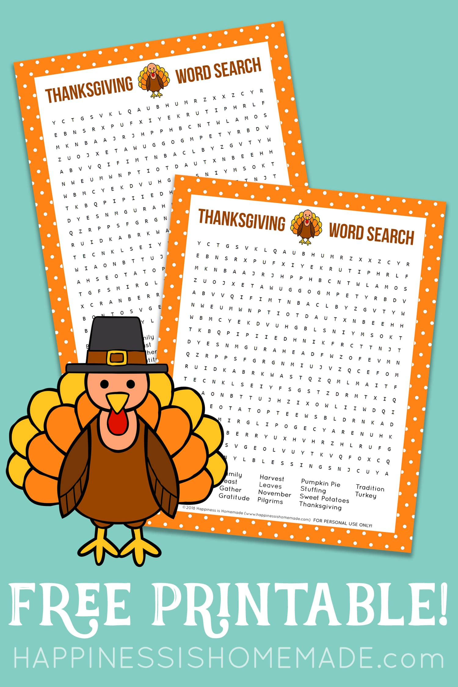 2 Thanksgiving Word Search Puzzles on teal background with turkey graphic