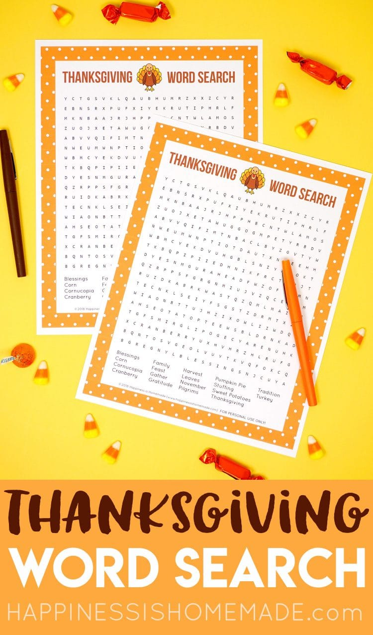Thanksgiving Word Search Printable Happiness Is Homemade