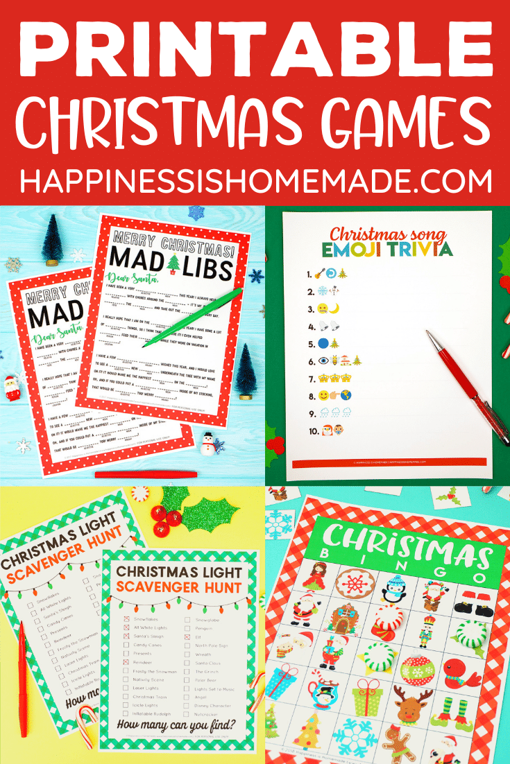 """""""Free Printable Christmas Games"""" Graphic - collage of games"""