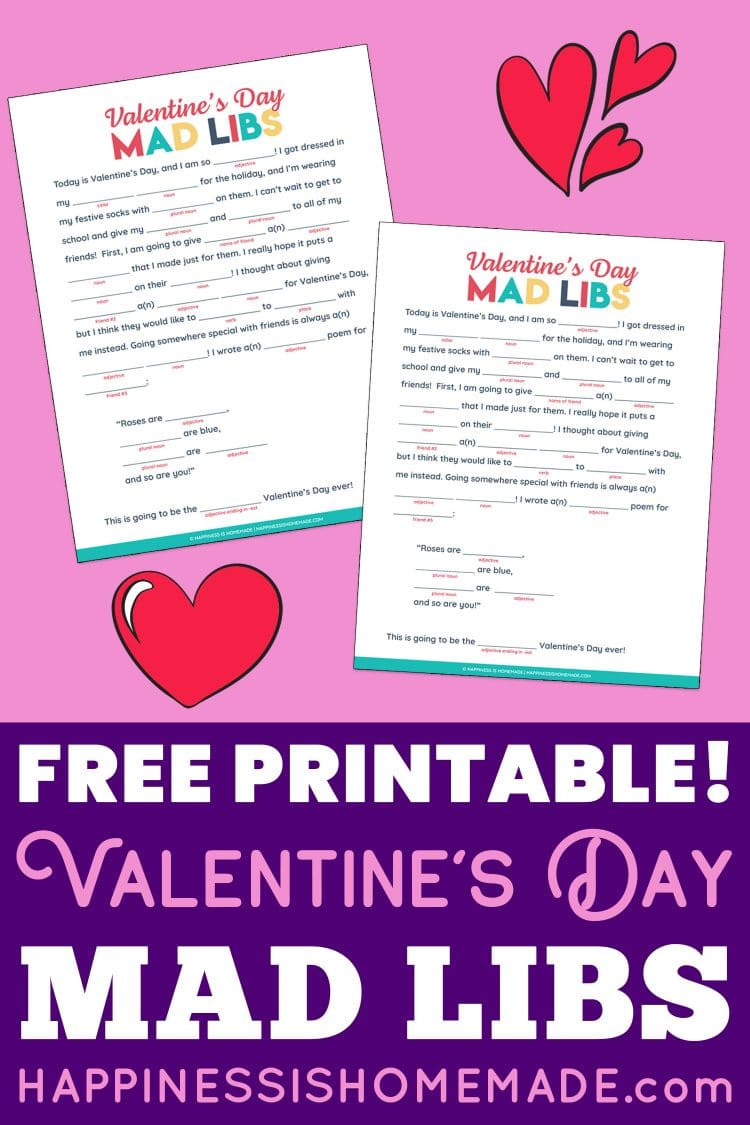 Free Printable Valentines Day Mad Libs pin