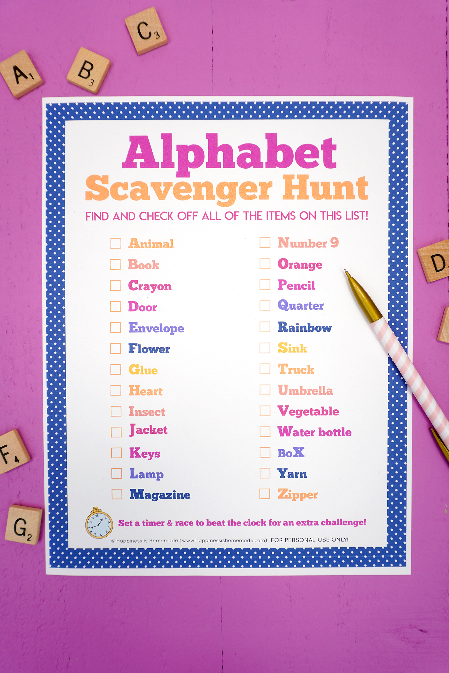 Alphabet scavenger hunt printable on purple background with pink pencil and ABC alphabet Scrabble tiles