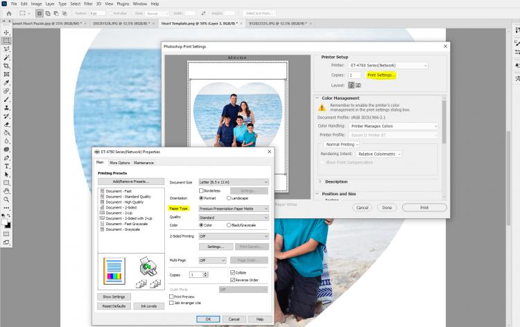 Screenshot of printing settings in Photoshop