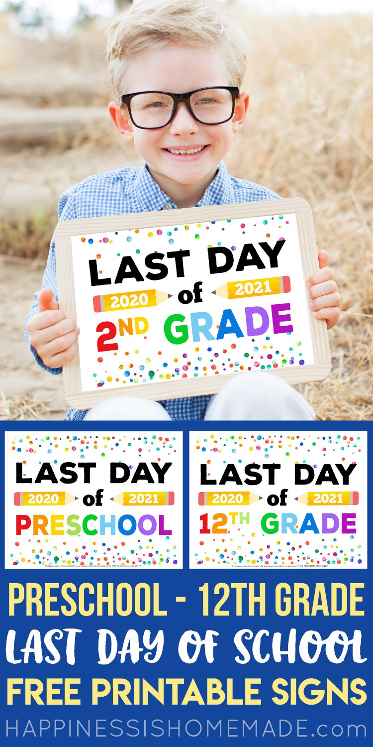 Printable Last Day of School Signs graphic with boy wearing glasses