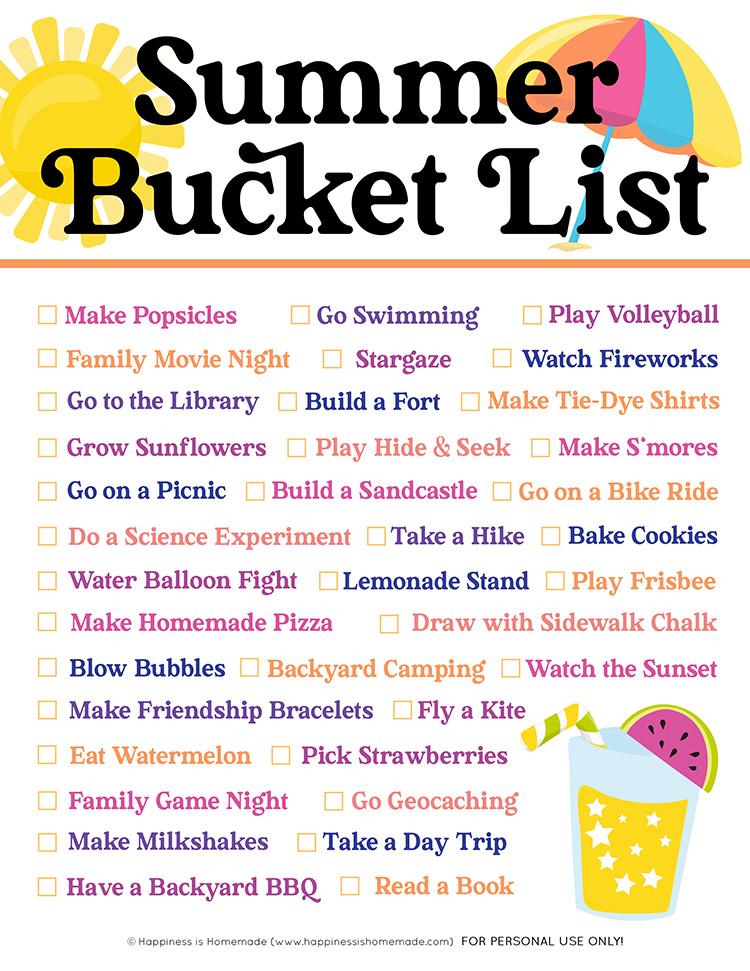 Graphic of Summer Bucket List printable