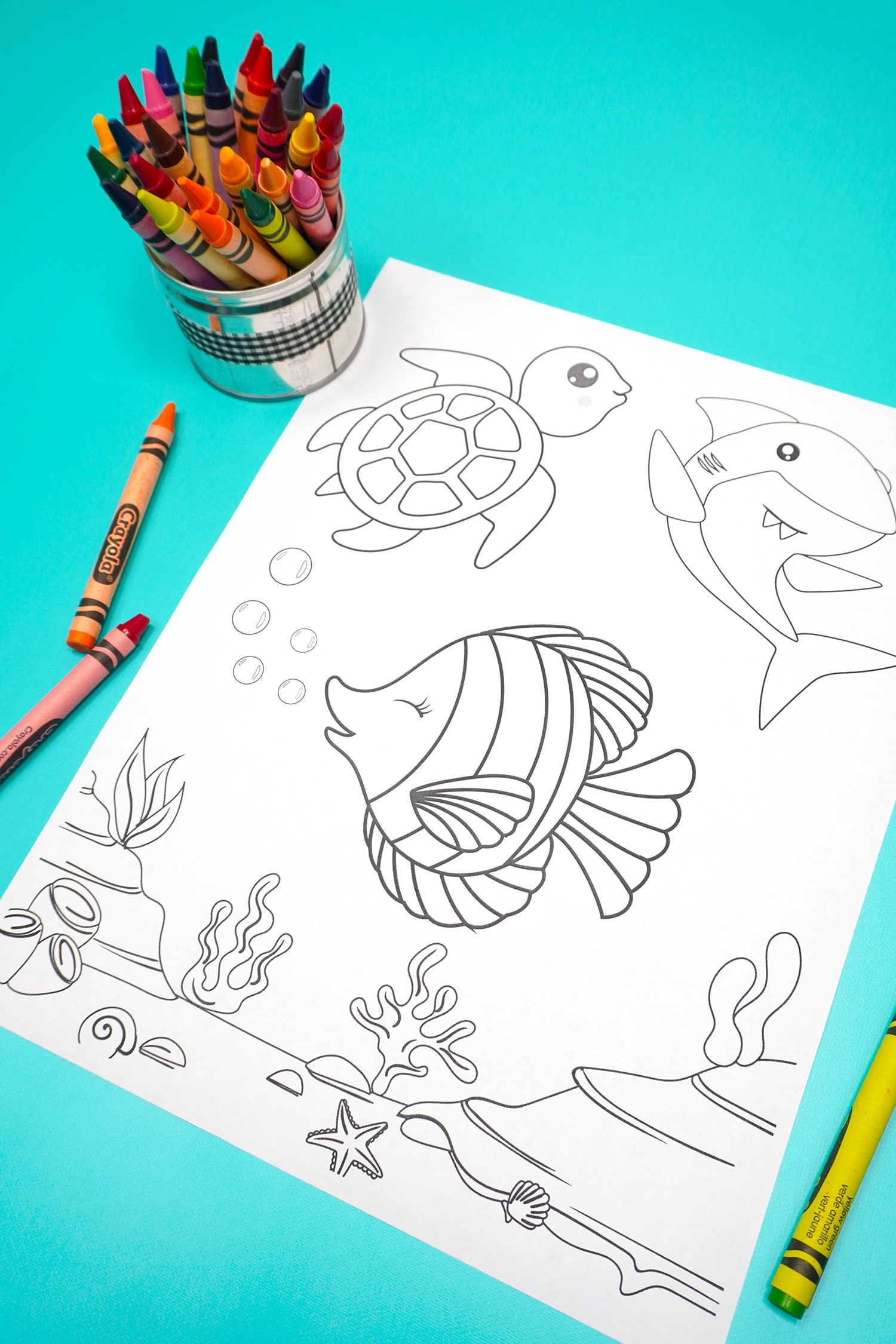 Under the sea themed summer coloring page on aqua background