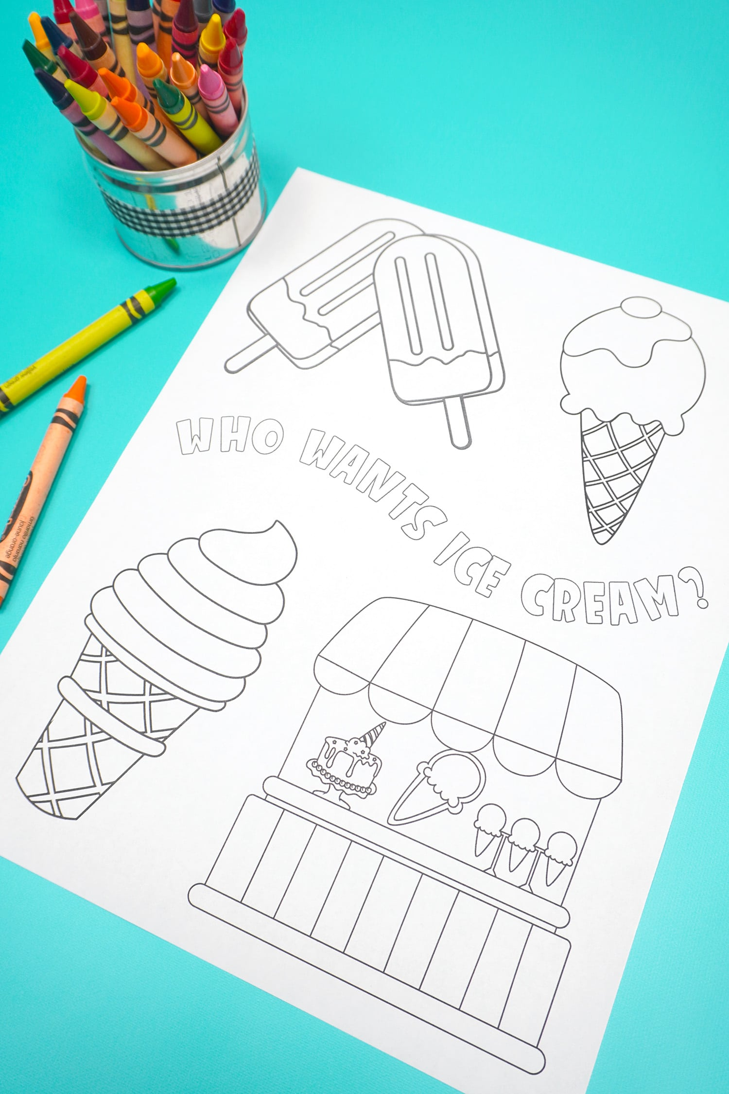 """""""Who Wants Ice Cream"""" Summer Coloring Page on aqua background"""