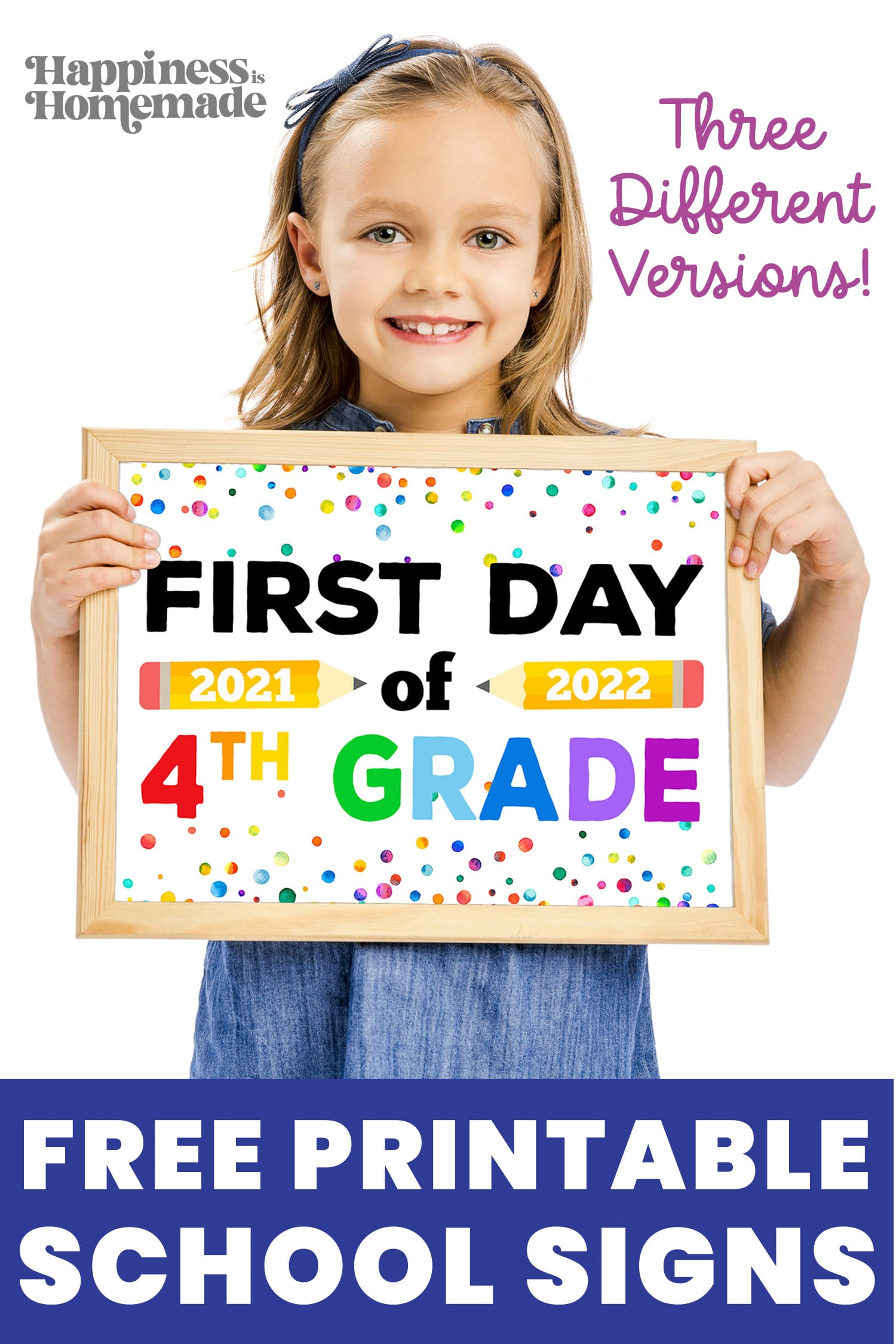 Girl with brown hair and headband holding printable First Day of School sign for 2021