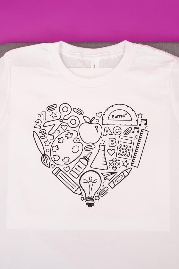 Back to school shirt ready to be colored