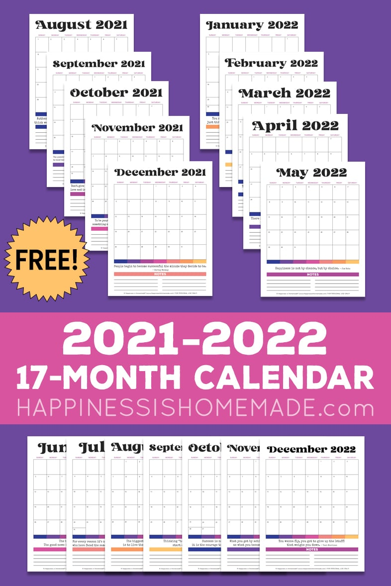 Seventeen 2021 2022 monthly calendar graphics on a purple background