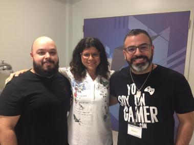 Ulises Pérez (Gastrosoficos), Deliana Olmo (DOT Communications) y Hambo (Yo soy un gammer)