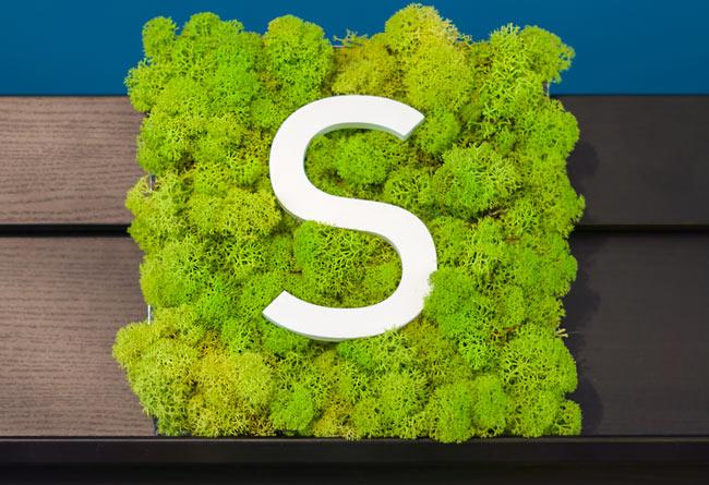 Enseigne signalétique végétale lychen avec lettre en aluminium découpée laser Dibond ou PVC pour mairie, musée, clinique, hôpital Happy Light Enseignes