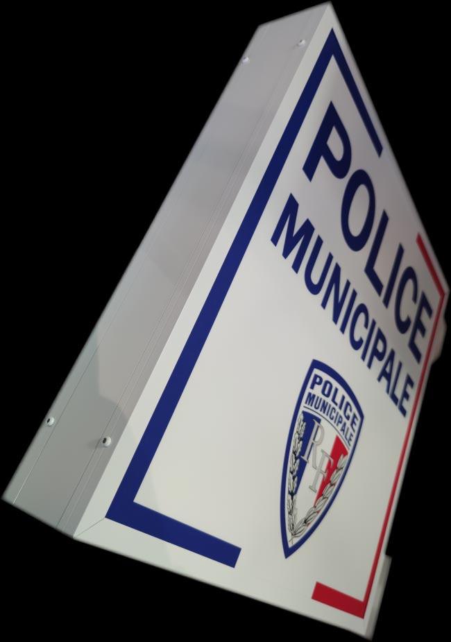 Caisson double face Police Municipale Happy Light Enseignes
