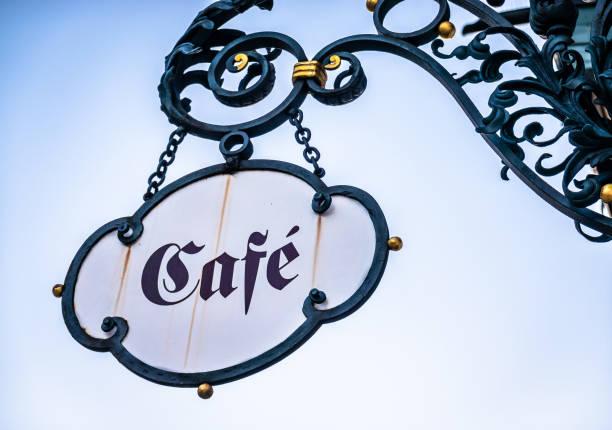 Enseignes vintage Café double face sur potence ferronnerie Happy-Light-Enseignes-ARRAS