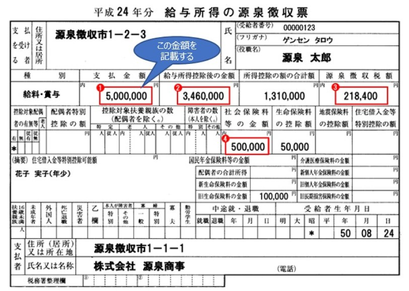 源泉徴収票(サンプル)