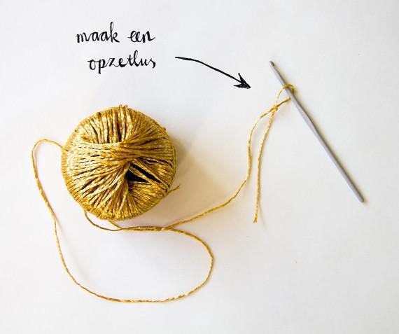 happy acorn haken crochet goud haarband slinger