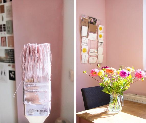 happy acorn roze muur verven herfstlijtstje