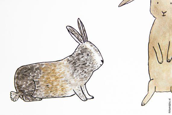 jip en lola happy acorn konijn bunny portrait ninamaakt