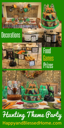 Hunting Theme Parties with Camouflage and Duck Dynasty with Decorating and Party Ideas from HappyandBlessedHome.com