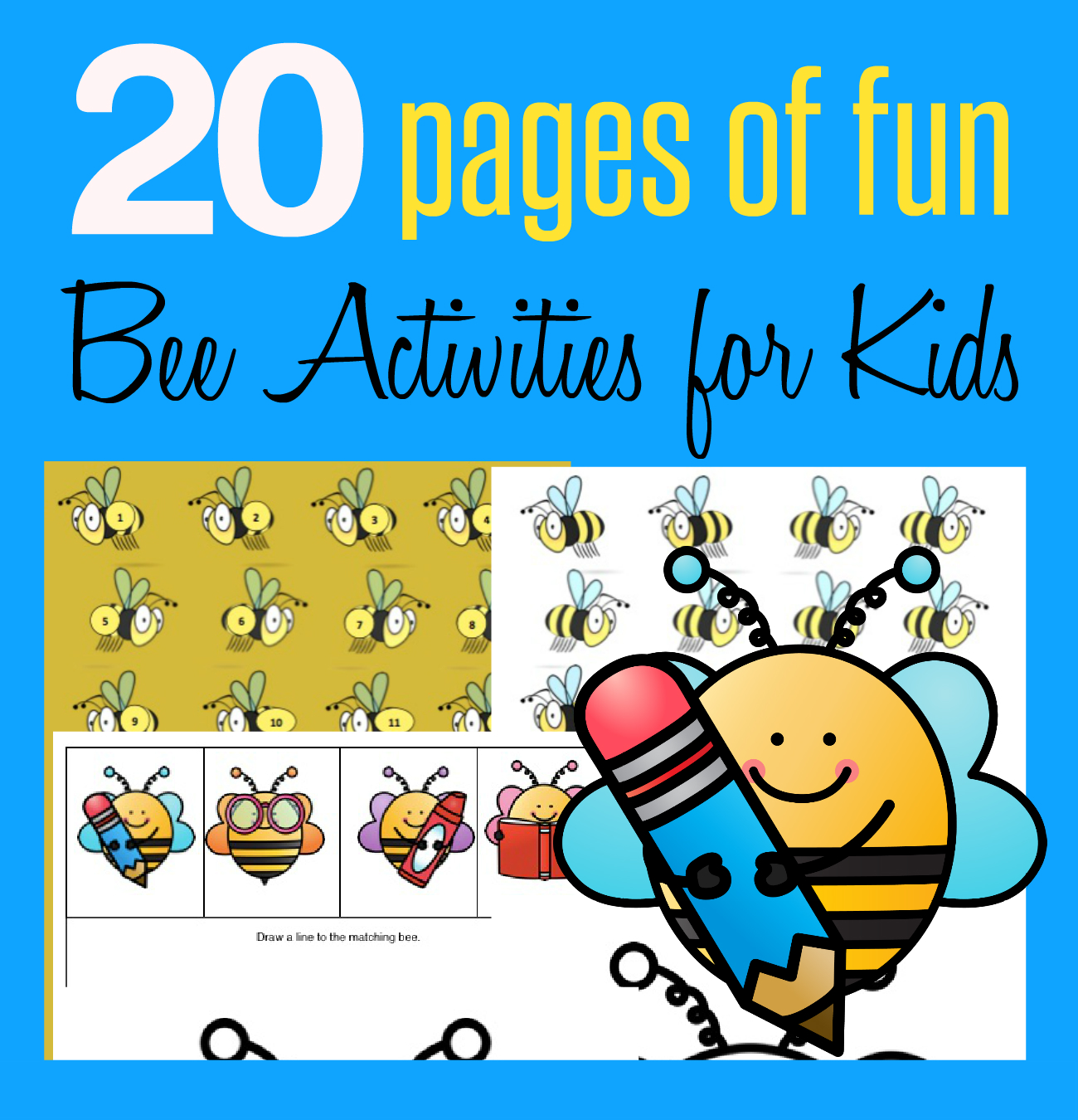 20 Page Fun Bee Activity Pack For Kids And Cereal Snacks