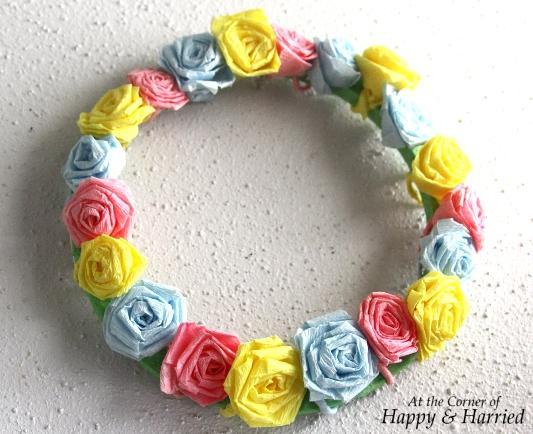 Crepe Paper Rose Wreath 2