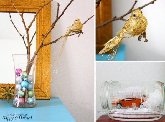 Christmas Side Table Vignette - Vase & Snow Globe