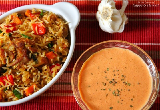 Arroz Con Pollo With Roasted Red Pepper & Garlic Yogurt