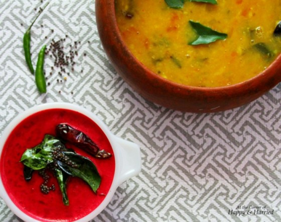 Beetroot Pachadi And Dal - Wholesome Accompaniments to Steamed Rice