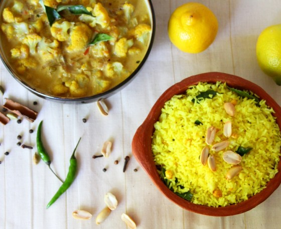Delicious Vegetarian Lunch - Lemon Rice & Cauliflower Curry