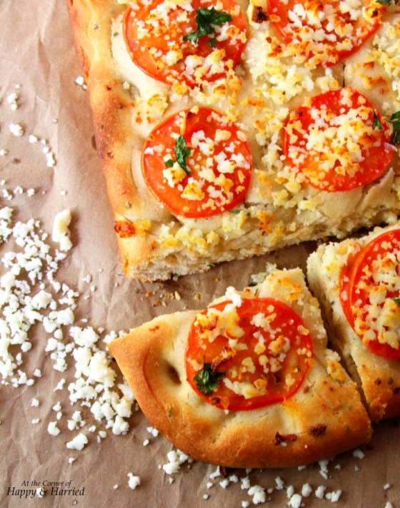Focaccia Bread With Tomato, Parsley & Paneer Toppings